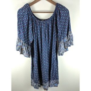 Umgee Bohemian Batwing Sleeve Elastic Dress